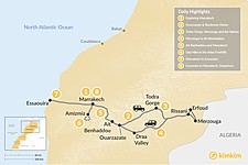 Map thumbnail of Marrakech, Grand Tour of the Desert, Hiking & the Coast - 8 Days