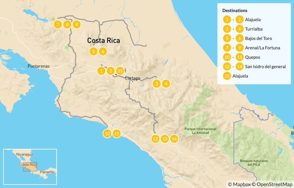 Map of Luxury Wellness and Adventure in Costa Rica - 16 Days