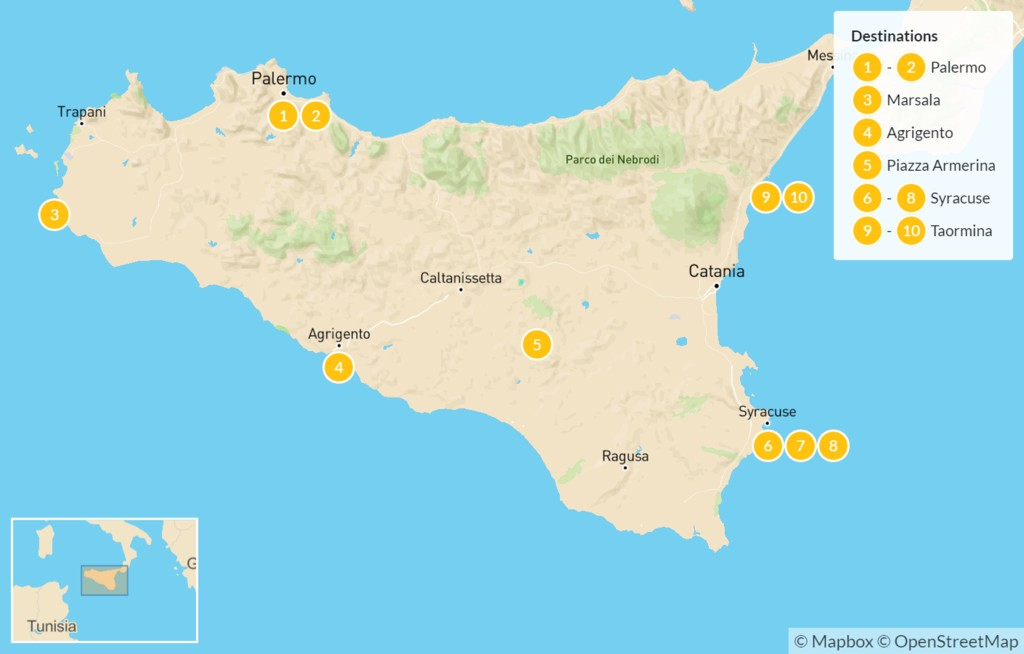 Map of Sicily Highlights Self-Drive Tour - 11 Days