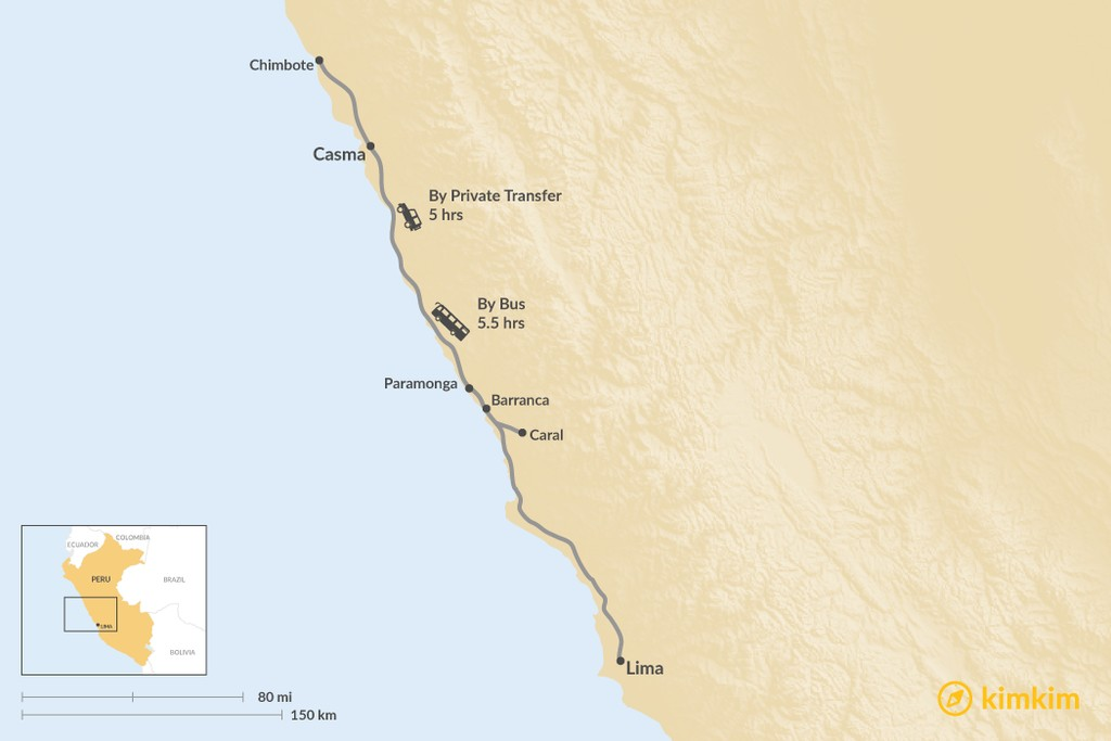 Map of How to Get from Lima to Casma