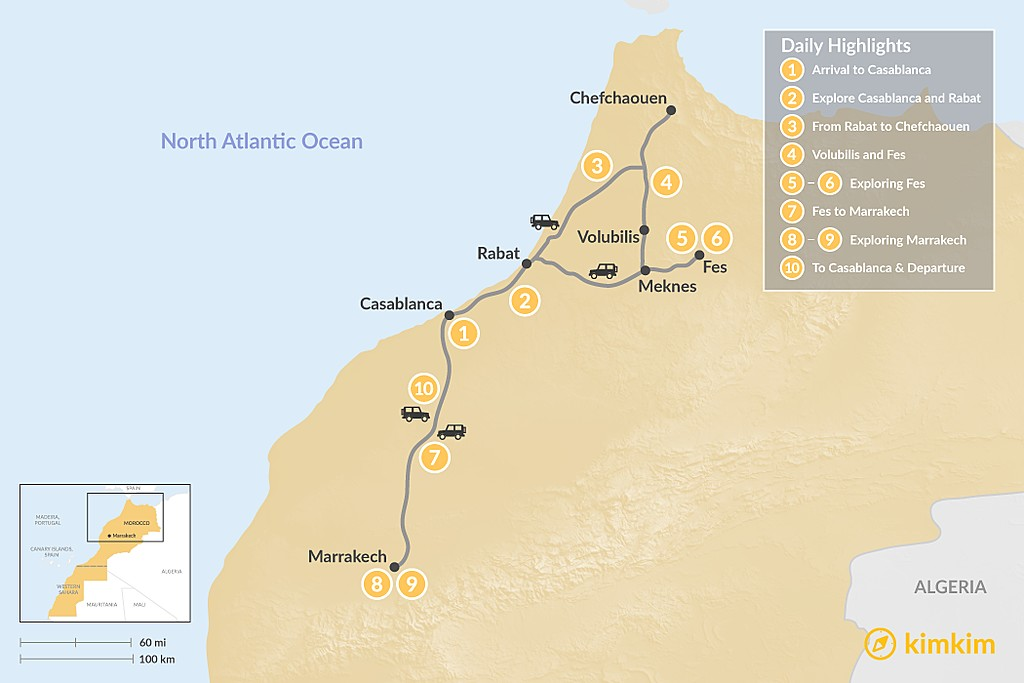 Map of Moroccan Cities Grand Tour - 10 Days