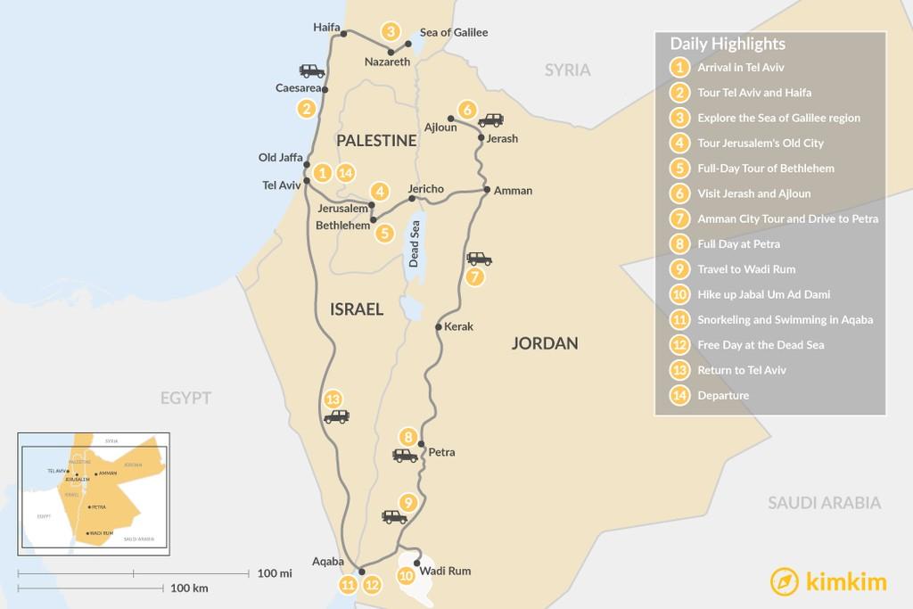 Map of Highlights of Jordan and Israel:  Tel Aviv, Jerusalem, Petra, Wadi Rum and More - 14 Days