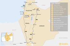 Map thumbnail of Highlights of Jordan and Israel:  Tel Aviv, Jerusalem, Petra, Wadi Rum and More - 14 Days