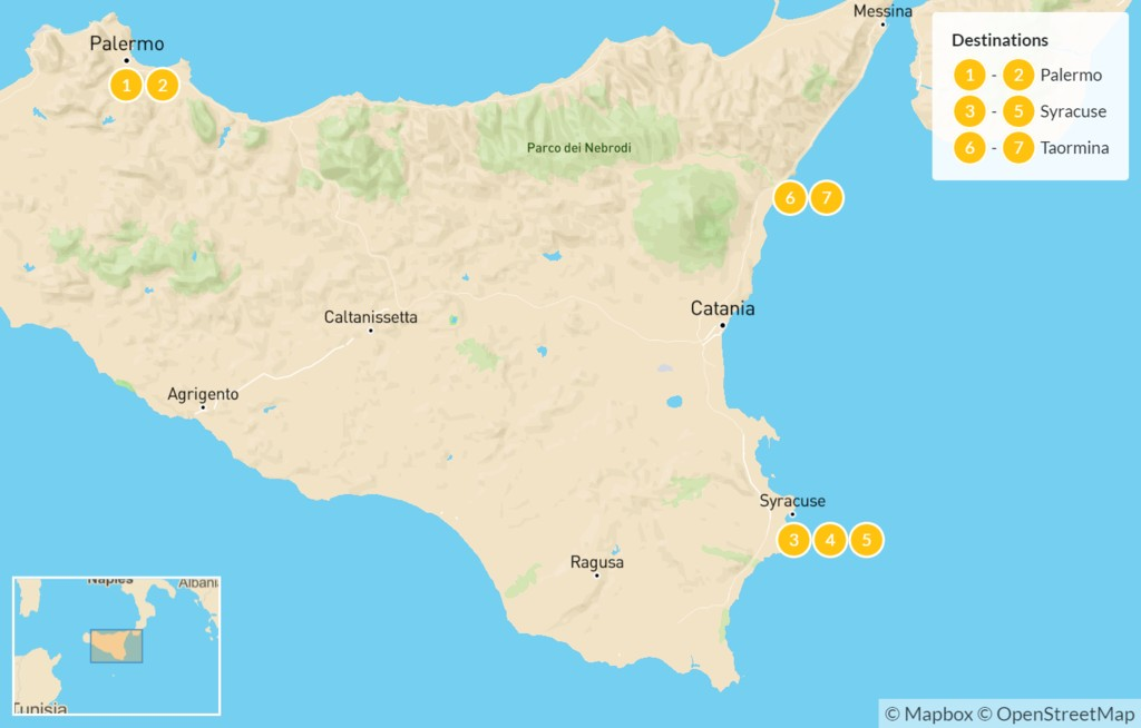 Map of Sicily Highlights Self-Drive Tour - 8 Days