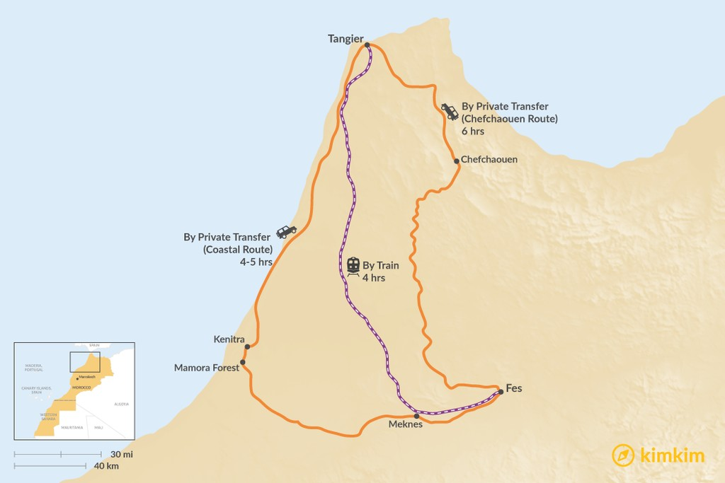 Map of How to Get from Tangier to Fes