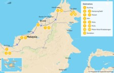 Map thumbnail of Culture & Nature in Malaysian Borneo: From Kuching to Sandakan - 14 Days