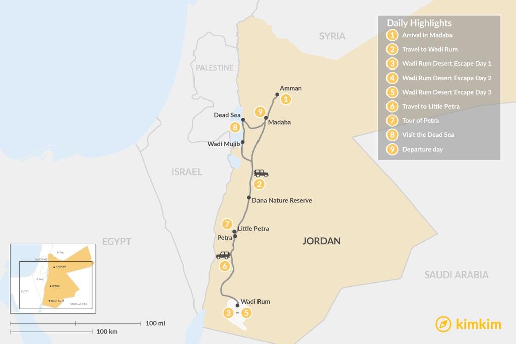 Map of Desert Yoga Escape in Jordan: Wadi Rum & Little Petra - 9 Days