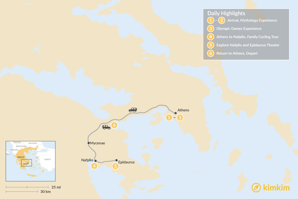Map of Family Holiday in Athens & Nafplio - 6 Days