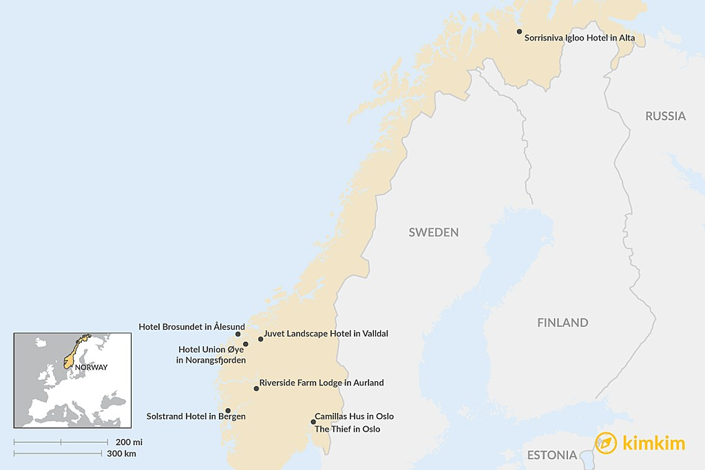 Map of Top 8 Boutique Hotels in Norway