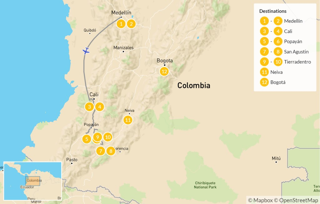 Map of Medellín & Colombia's Southern Interior - 13 Days
