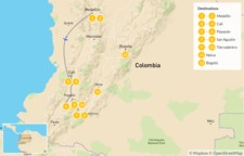 Map thumbnail of Medellín & Colombia's Southern Interior - 13 Days
