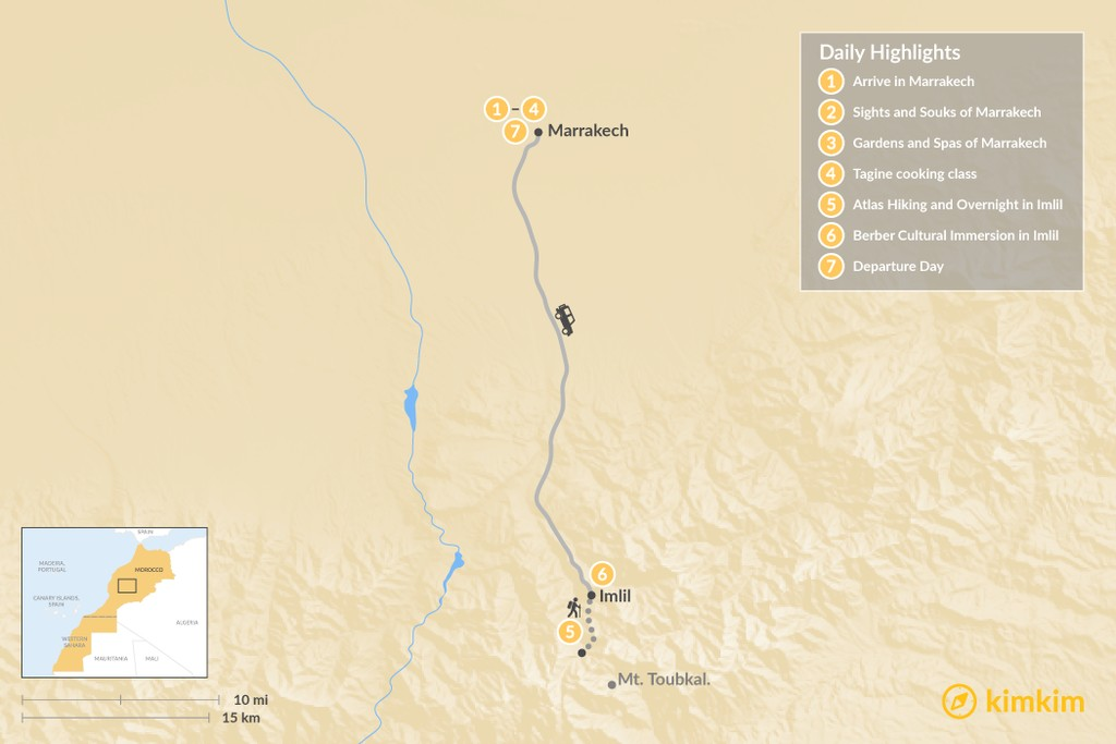 Map of Luxury Marrakech & Atlas Mountains - 7 Days