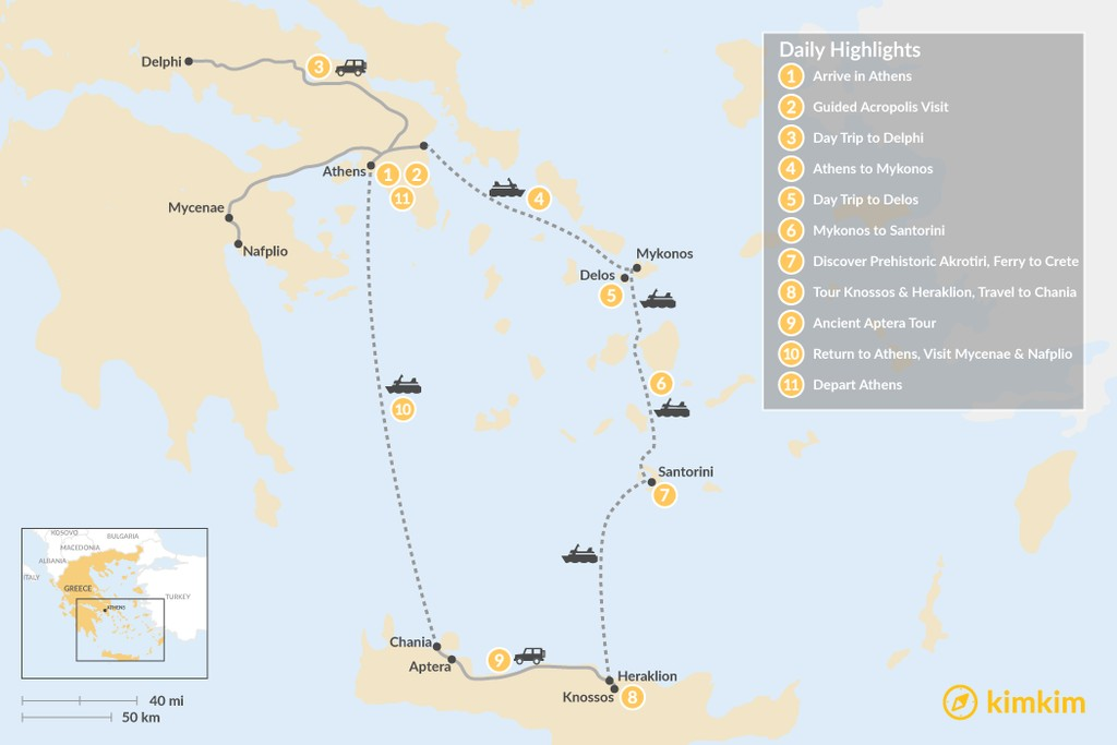 Map of Historic Athens, Mainland Greece, Cyclades and Crete - 11 Days