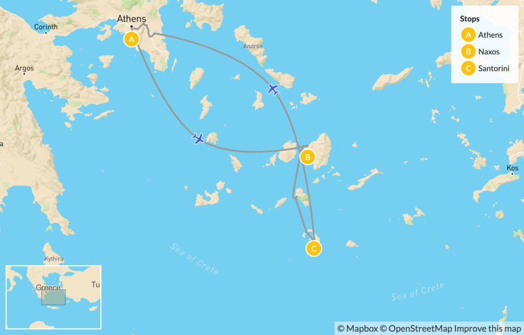 Map of Family Highlights of Greece: Athens, Naxos & Santorini - 10 Days