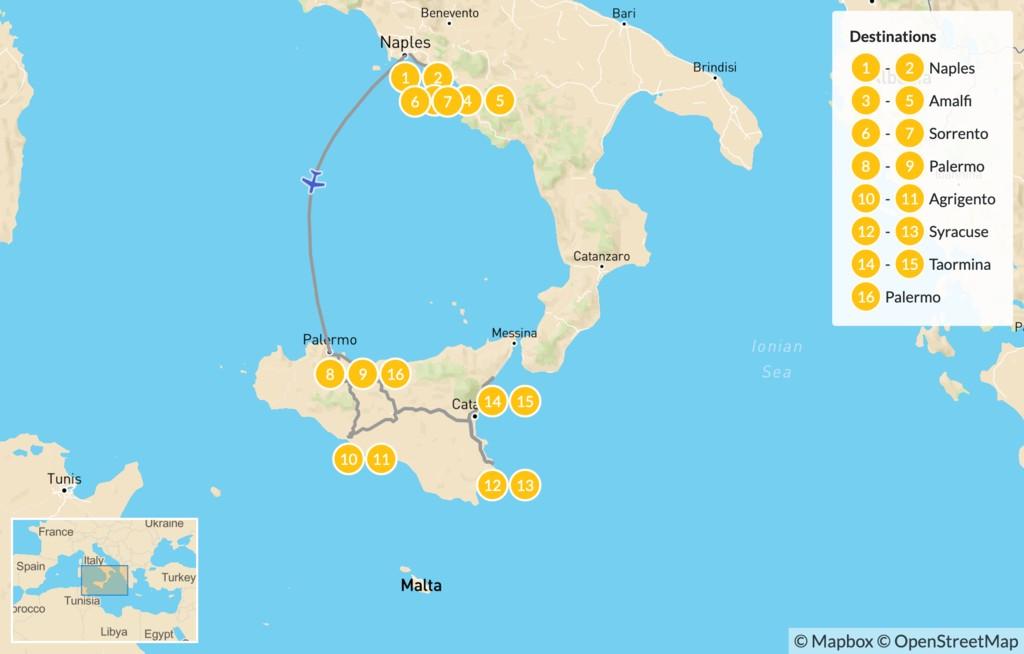 Map of Naples, Amalfi Coast, & Sicily - 17 Days