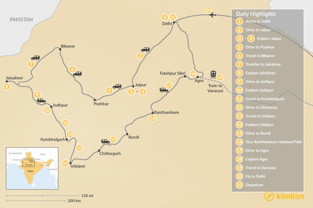 Map of Highlights of Rajasthan  - 21 Days