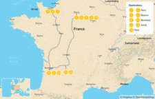 Map thumbnail of Discover France: Paris, Normandy, Bordeaux, the Dordogne Region - 14 Days