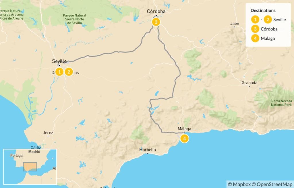 Map of Highlights of Andalusia: Seville, Córdoba, and Málaga - 5 Days