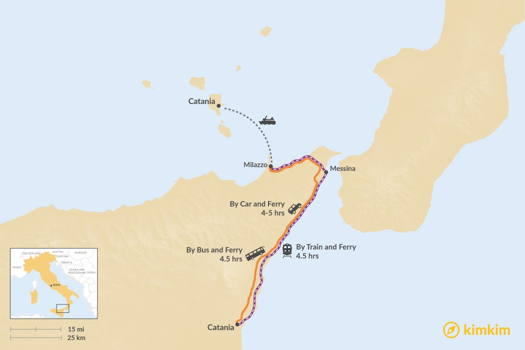 Map of How to Get from Catania to Lipari