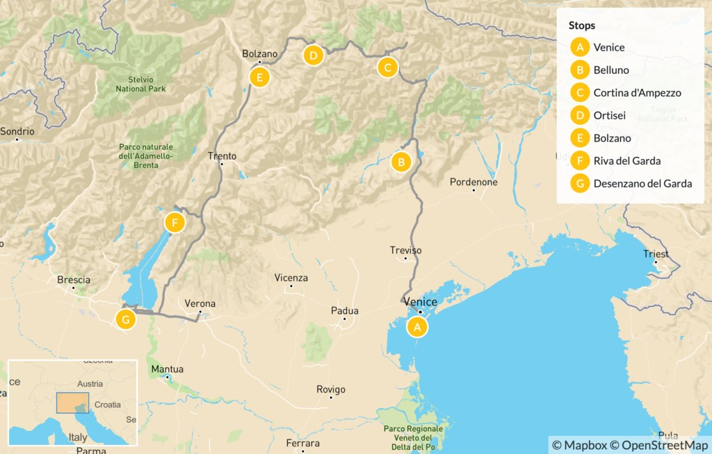 Map of Mountains and Lakes in Northern Italy: The Dolomites, Lake Garda, Verona & More - 14 Days