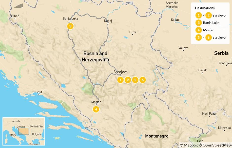 Map of Historic Bosnia & Herzegovina: Sarajevo, Banja Luka & Mostar - 7 days