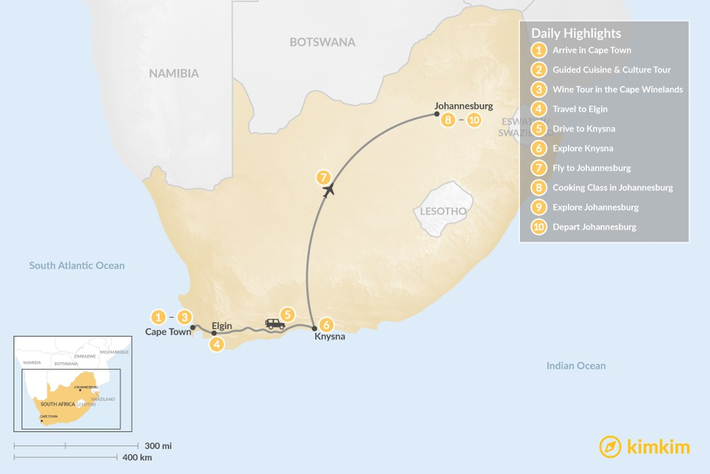 Map of South Africa Food & Wine Tour: Cape Town, Garden Route, & Johannesburg - 10 Days
