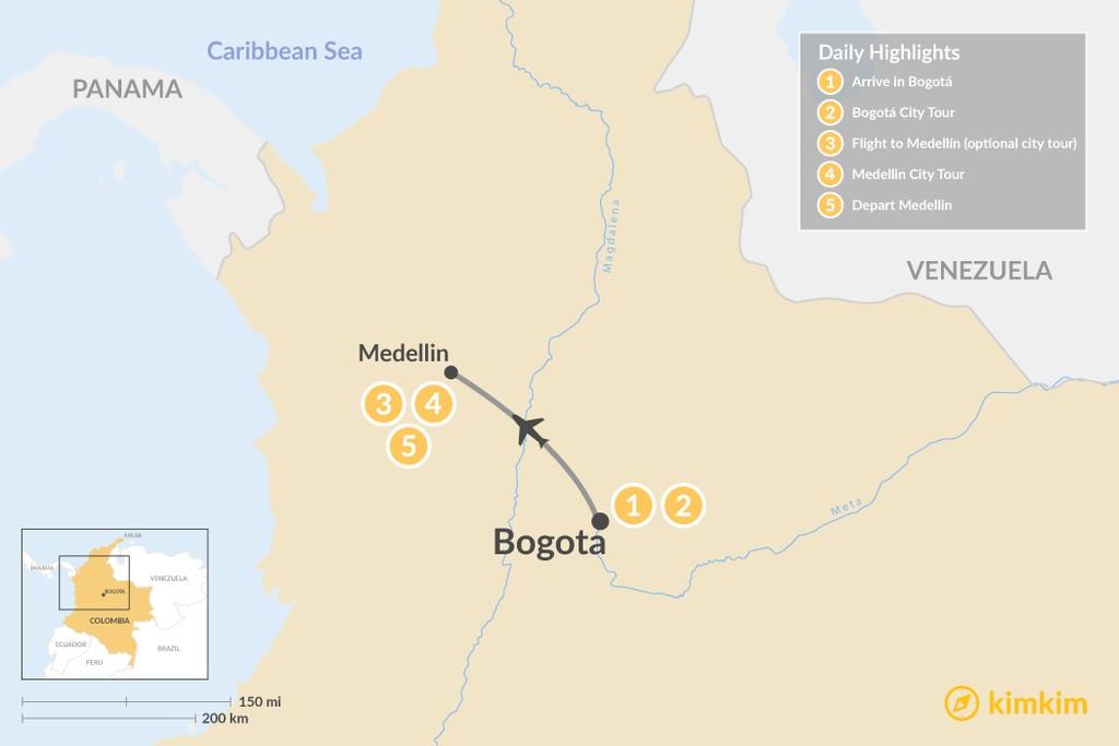 Map of Discover Bogotá & Medellín - 6 Days