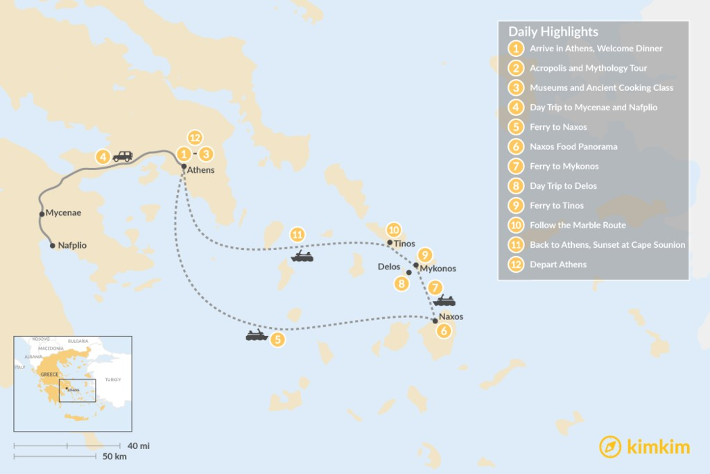 Map of Past and Present in Athens, Tinos, Mykonos & Naxos - 12 Days