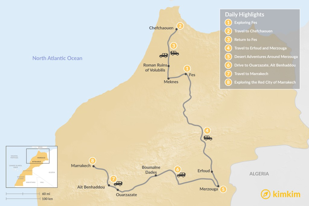 Map of Moroccan Cities and the Sahara - 8 Days