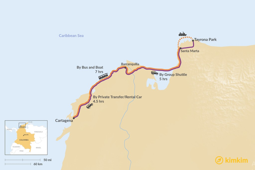 Map of How to Get from Cartagena to Tayrona Park