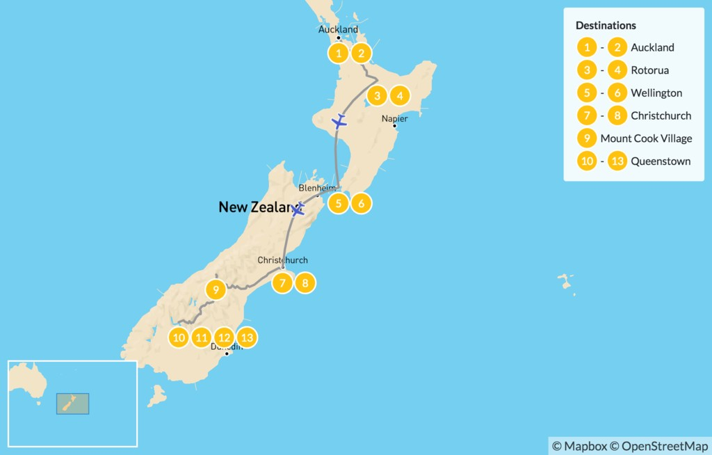 Map of New Zealand's Ultimate Tour - 13 Days