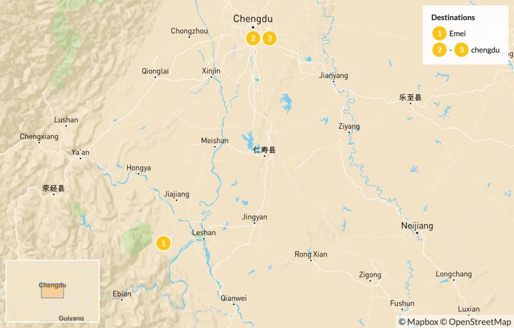 Map of Chengdu City & Pandas - 4 Days