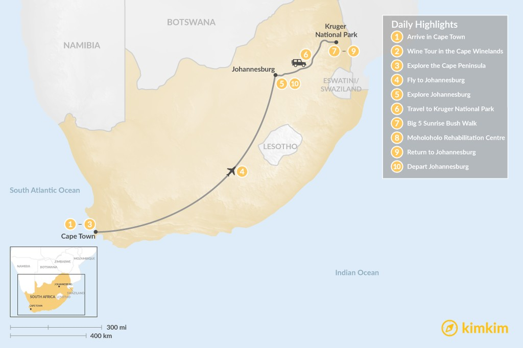Map of Classic South Africa: Cape Town, Johannesburg, & Kruger Safari - 10 Days