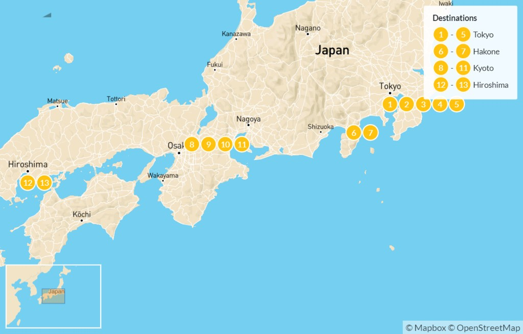 Map of Explore Japan: Tokyo, Kyoto, & Hiroshima - 14 Days