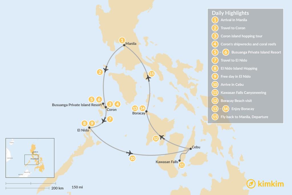 Map of Philippines Beaches, Waterfalls & Lagoons - 15 Days