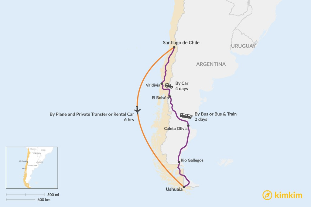 Map of How to Get from Santiago to Ushuaia