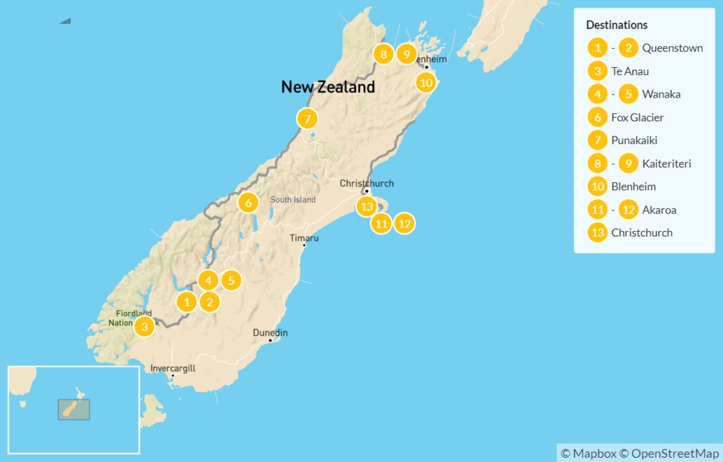 Map of South Island Tour: Queenstown, Te Anau, Wanaka, Akaroa, Christchurch, & More - 14 Days