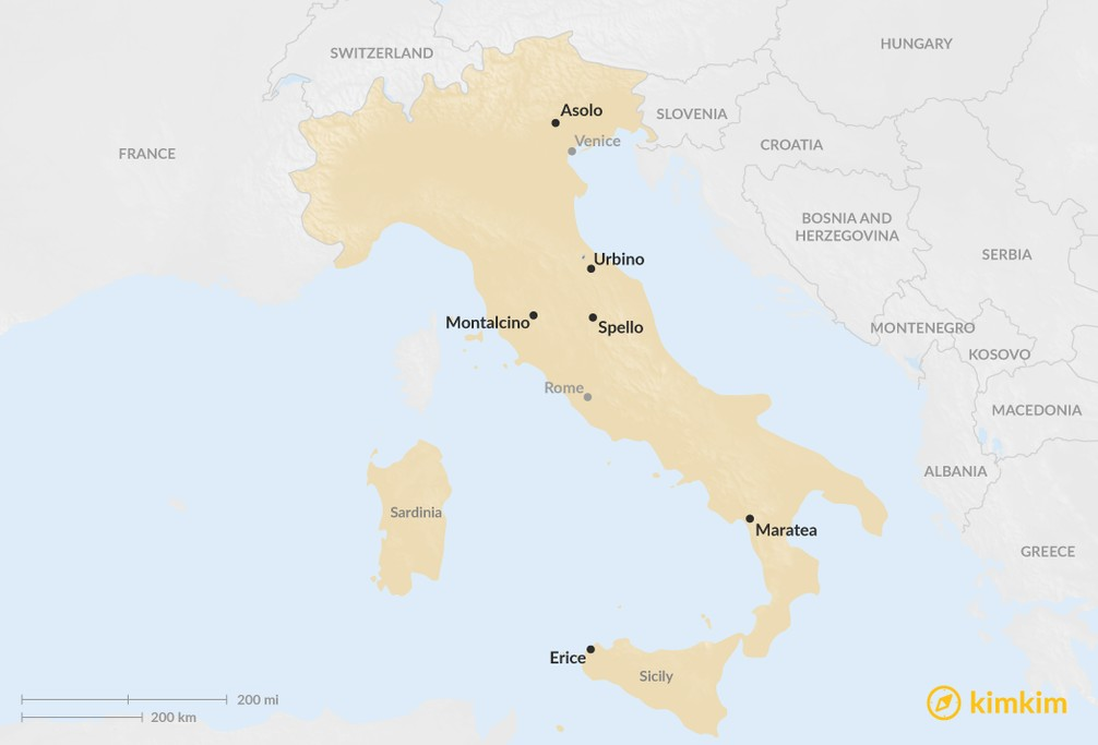 Map of 6 Hidden Hill Towns in Italy