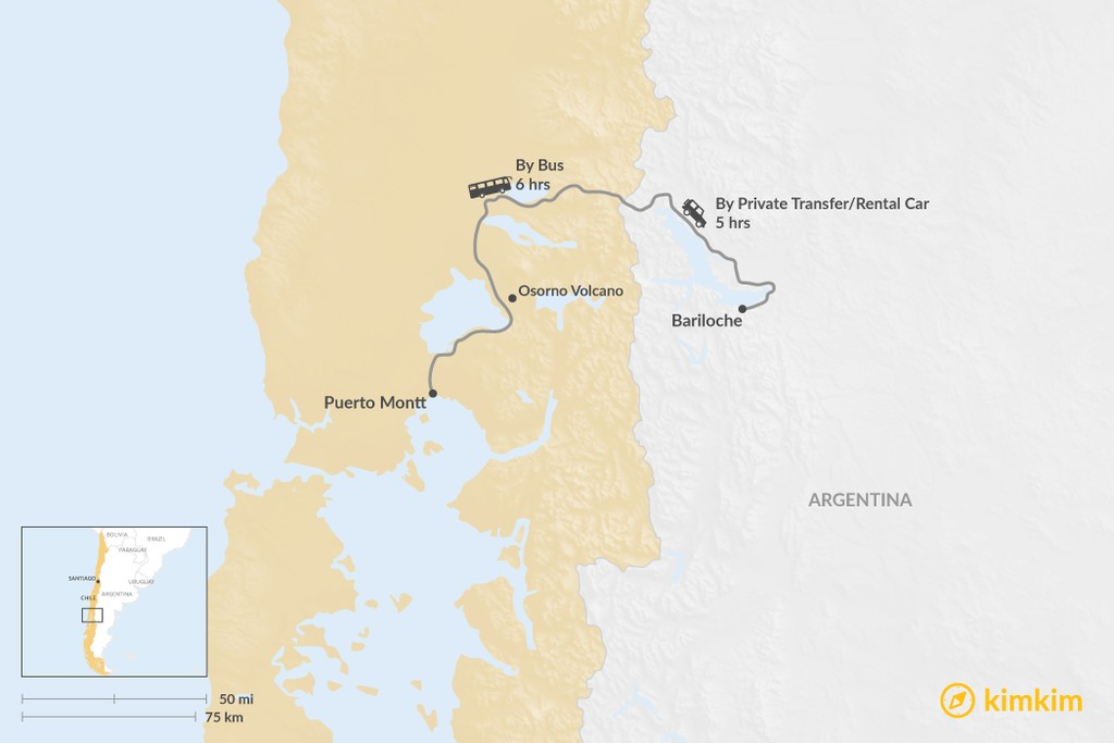 Map of How to Get from Puerto Montt to Bariloche