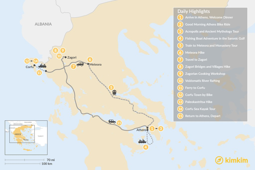 Map of Adventurous Athens, Central Greece, and Corfu - 15 Days