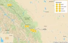 Map thumbnail of Canadian Rockies Road Trip: Banff, Lake Louise, Jasper, & Canmore - 9 Days