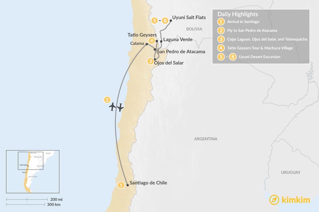 Map of San Pedro de Atacama & Uyuni - 8 Days