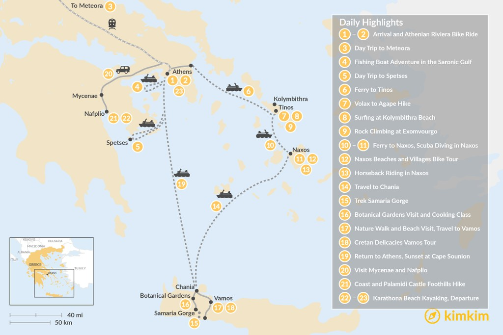 Map of Active Athens, Mainland Greece, Cyclades, and Crete - 23 Days