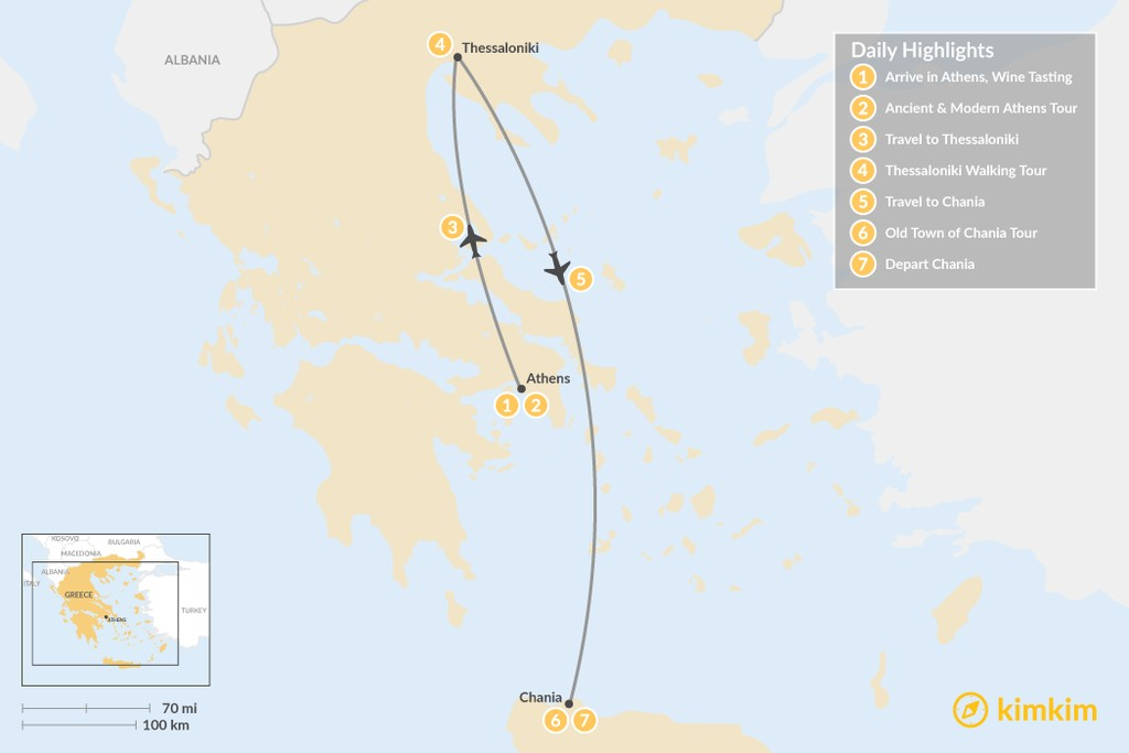Map of Discover Athens, Thessaloniki & Crete - 7 Days