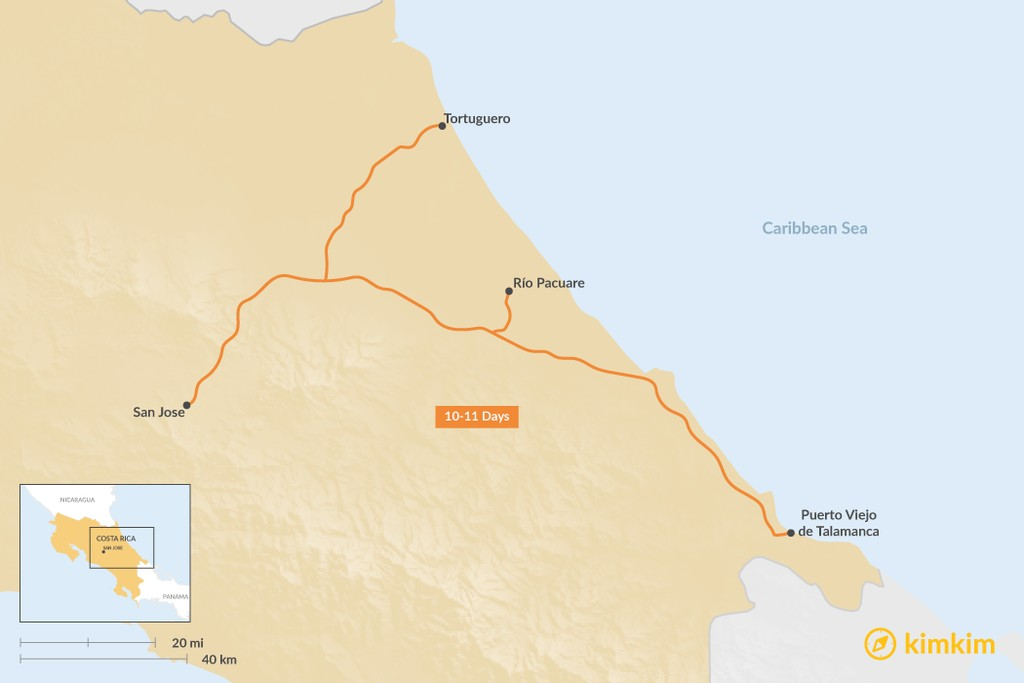 Map of Tortuguero, Puerto Viejo, & Río Pacuare: Best Itinerary Ideas