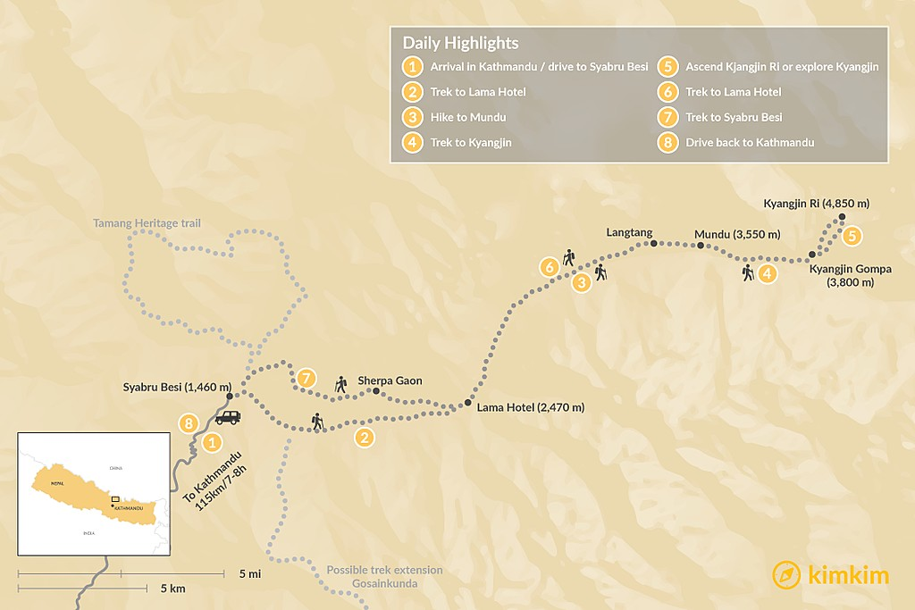 Map of Langtang Trek - 11 Days