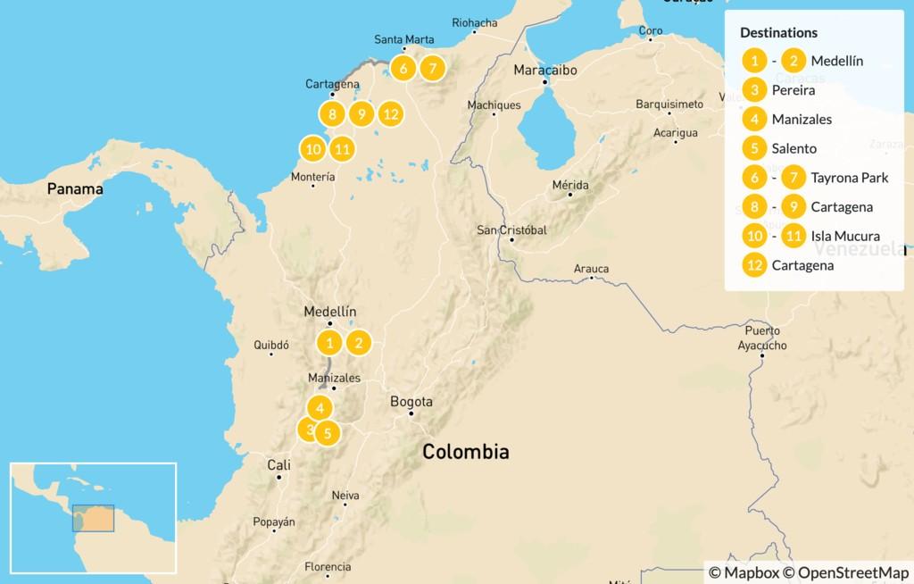 Map of Colombia Adventure: Zona Cafetera, Tayrona Park, & Caribbean Coast - 15 Days