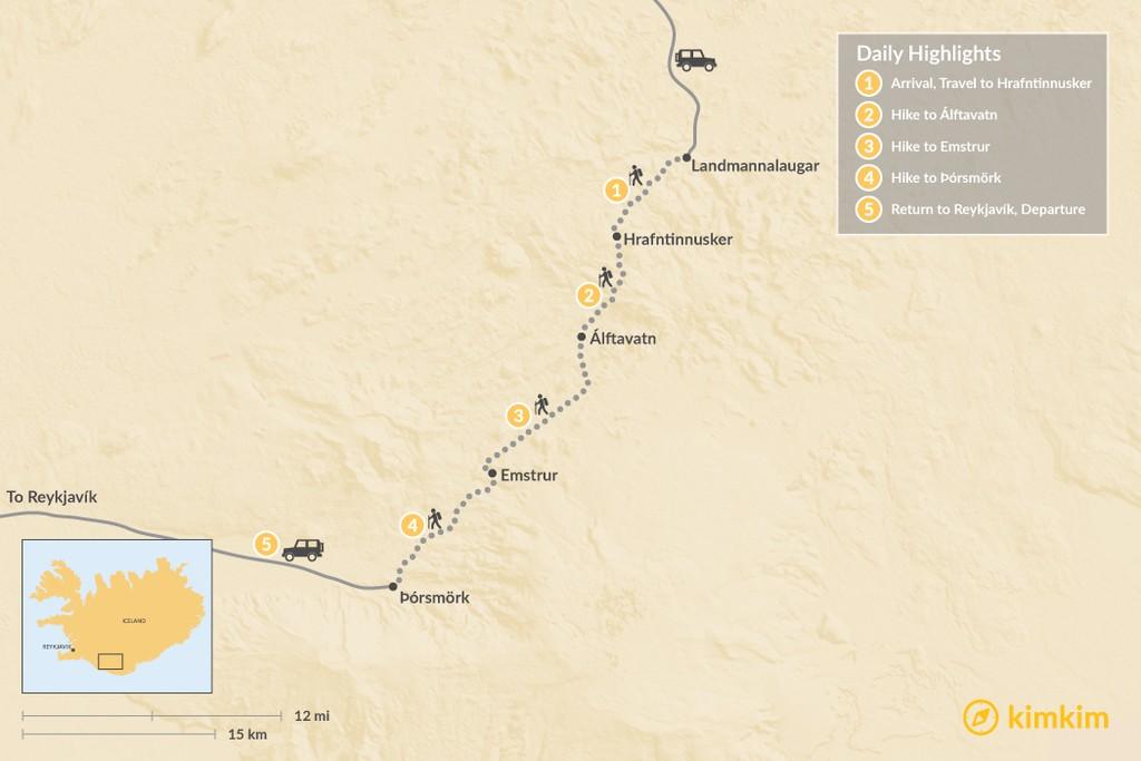 Map of Laugavegur Hut-to-Hut Trek - 5 Days