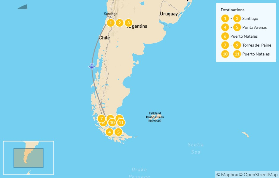 Map of Chile: Santiago, Pacific Coast, Maipo Valley, & Patagonia W Trek - 12 Days