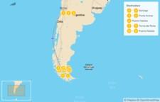 Map thumbnail of Chile: Santiago, Pacific Coast, Maipo Valley, & Patagonia W Trek - 12 Days